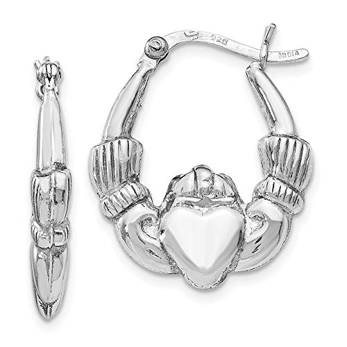 925 Sterling Silver Irish Claddagh Celtic Knot Hinged Hoop Earrings Ear Hoops Set Fine Jewelry For Women Gifts For Her