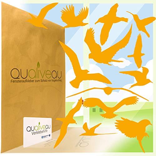 Qualiveau® 12-30cm Große Fensterbilder Aufkleber zum Schutz vor Vogelschlag, Komplettset mit Verklebehilfe, Orange