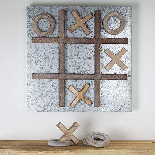 Crystal Art Gallery Hanging Message Memo Board Wood/Metal Magnetic Tic-Tac-Toe Farmhouse Decor