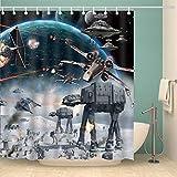 Youni 183 x 183 cm Movie Star Wars Polyester wasserdichter Stoff Duschvorhang mit 12er-Pack Kunststoff, blau