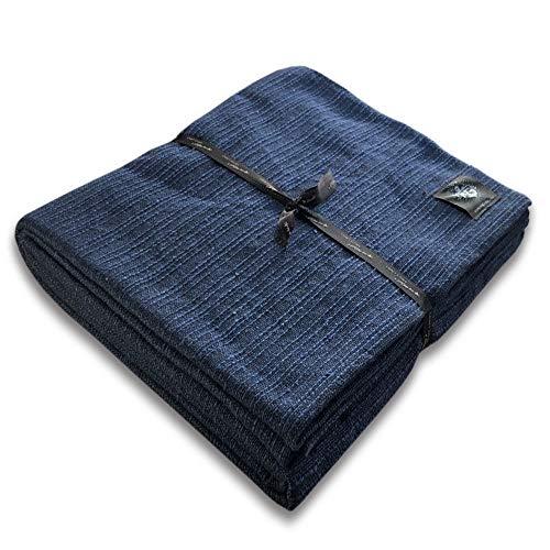 """Craft Story Decke """"Yara"""" I Uni dunkelblau aus 100% Baumwolle I Tagesdecke I Sofa-Decke I Überwurf I Bedspread I Plaid I Picknickdecke I Läufer I 170 x 220cm"""