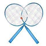 FASJ Raqueta De Bádminton, Juego De Raquetas De Bádminton Cómodo De Usar Cinta De Agarre De PU para Principiantes para Niños(Azul)