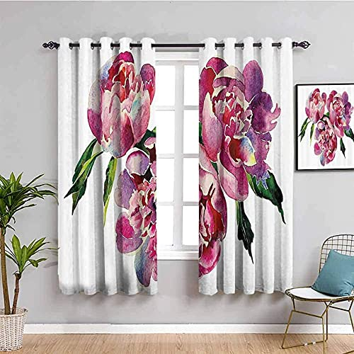 JNWVU Blackout Curtains for Bedroom - Oil Painting Flowers Plants White - 3D Print Pattern Eyelet Thermal Insulated - 55 x 63 inch - 90% Blackout Curtains for Kids Boys Girls Playroom