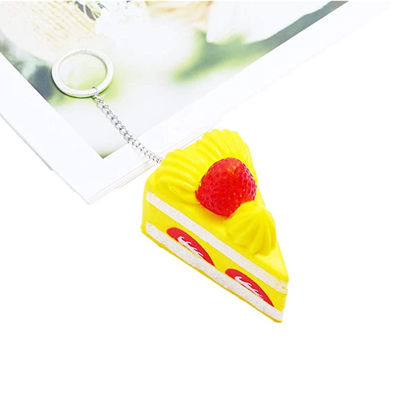 Livoty Squeeze Toy Strawberry Cake Super Slow Rising Scented Relieve Stress Toy Keychain