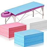 60 Pieces Massage Table Cover Disposable Sheets for Massage Table Waterproof Disposable Bed Sheets Oil Proof for Spas Beauty Salons Lash Bed, Pink Blue White, 31.5 x 70.1 Inch