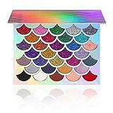 The Original Mermaid Glitter Eyeshadow Palette - Vegan & Cruelty Free - (32 Colors) - 21 Pressed Glitters, 6 Shimmery & 5 Matte Shades - Highly Pigmented - Waterproof & Long-Lasting