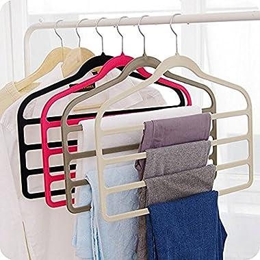 Magic Multi Layer Pants Drying Flocking Hanger Trousers Holder No Slip Closet Hangers Space Saver Clothes Scarf Storage Hanging Rack, 4 Pcs (Black)