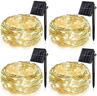 حزمة من 4 قطع من سلسلة مصابيح LED تعمل بالطاقة الشمسية للحديقة والفناء وشجرة عيد الميلاد وغرفة النوم الداخلية، 100 مصباح م...