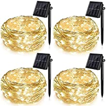 4 Pack Solar String Lights for Garden Patio Christmas Tree Indoor Bedroom, 100 LEDs Decorative Fairy Lighting Copper Wire ...