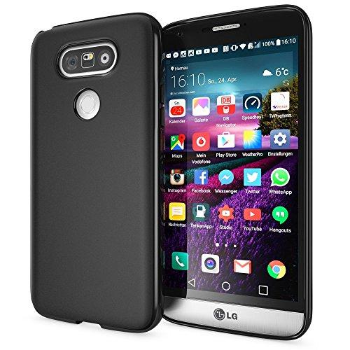 NALIA Custodia compatibile con LG G5, Cover Protezione Ultra-Slim Case Resistente Protettiva Telefono Cellulare in Silicone Gel, Gomma Morbido Bumper Copertura Sottile - Matte Nero