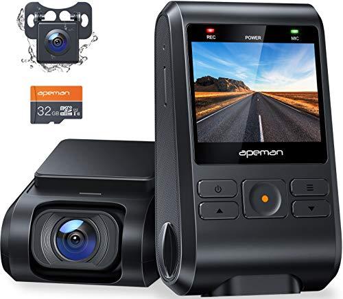 APEMAN Dual Dashcam C550, Vorne und Hinten Versteckten Autokamera, 1080P IPS Bildschirm, Nachtsicht, WDR, G-Sensor, Parküberwachung, Bewegungserkennung, Unterstützt GPS, SD-Karte einschließen