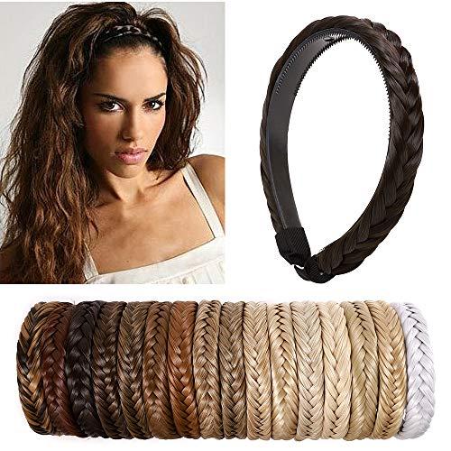 SEGO Extensiones de Cabello Diademas Trenzadas Elásticas Mujer Pelo Sintético Se Ve Natural Accesorios Fishtail Braided Hair Headband Head Hoop [Castaño Oscuro]