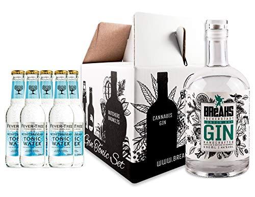 Breaks PREMIUM Gin - Genießer Set - 1 x 0,5 L Flasche Breaks Premium Gin + 5 Flaschen Fever Tree - Tonic Water - Handmade - Gin Tonic Set