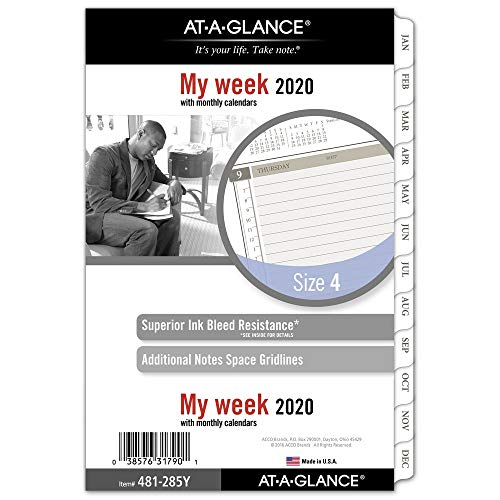 AT-A-GLANCE 2020 Weekly & Monthly Planner Refill, Day Runner, 5-1/2' x 8-1/2', Desk Size 4, Loose Leaf (481-285Y)