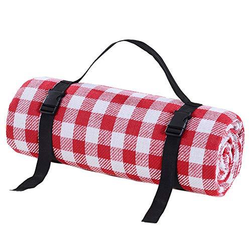 Picknickdecken Outdoor Teppichmatte Rot und Weiß Gitter - Wasserdicht Extra Large | Stranddecke Sand, Für Frühlingsreisen, Camping, Wandern,200x250cm