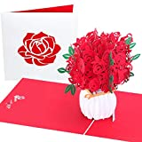 PopLife Red Roses Pop Up Valentine's Day Card - 3D Happy Anniversary, Bouquet Pop Up Mother's Day Card, Happy Birthday, Engagement - Folds Flat for Mailing - for Mom, for Daughter, for Wife