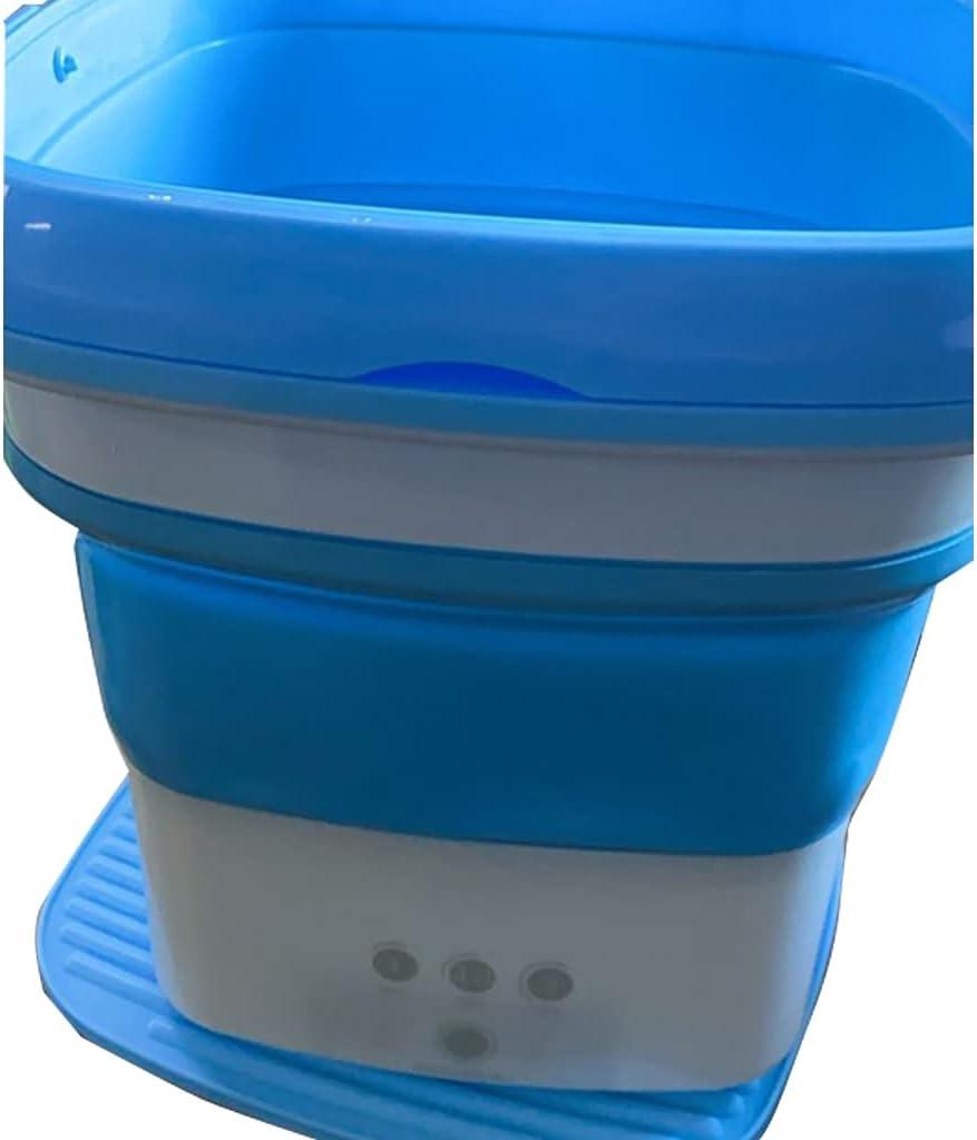 Mini Lavadora Plegable,Lavadora Juguete,Lavadora Camping,Mini Lavadora,para Camping, Caravanas Ropa Interior Femenina/Ropa De Bebé (Color : Blue, Size : 35.5 * 35.5 * 38cm)