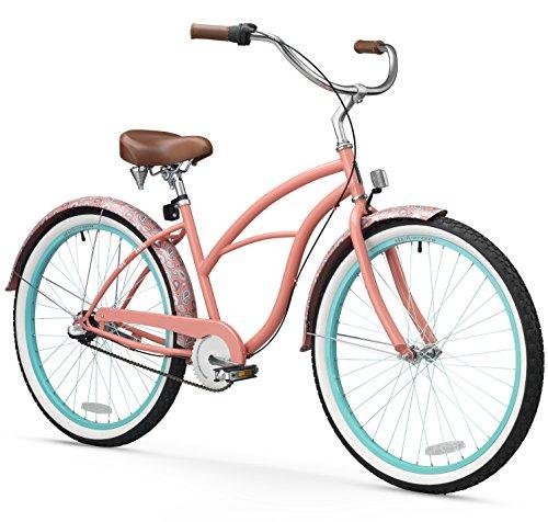 sixthreezero Women's 3-Speed Beach Cruiser Bicycle, Paisley Coral Pink w/Brown Seat/Grips, 26