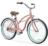 sixthreezero Women's 3-Speed 26-Inch Beach Cruiser Bicycle, Paisley Coral Pink w/Brown Seat/Grips