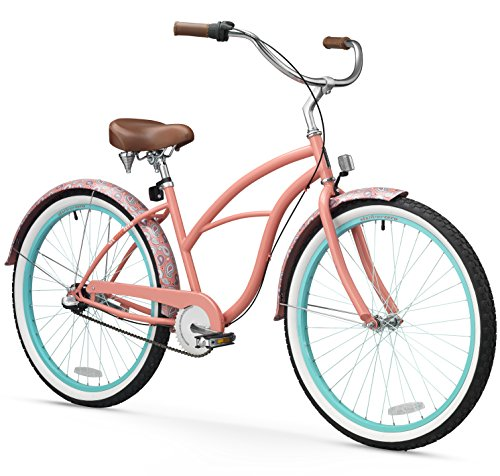 sixthreezero Women's 3-Speed 26-Inch Beach Cruiser Bicycle, Paisley Coral Pink w/Brown Seat/Grips