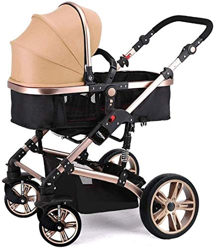 Atten Cochecito de bebé portátil for el recién Nacido y del niño, Sistema de Viaje con el Cochecito de bebé Plegable antichoque de Alta Ver Infantil Carro (Color : Khaki)