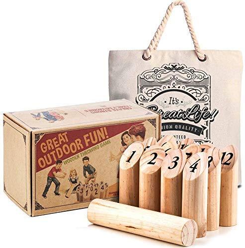 Premium Qualität: Skandinavisches Wurfspiel Original - Outdoor-Spiel aus Holz - Spiel & Spaß beim Grillen und Chillen - Gartenspiel - Must-Have für den Sommer - Schnelle Runden, Leichte Regeln