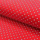 0,5m Jersey Punkte rot-weiß 015 Motivgröße Punkt ca. 3mm