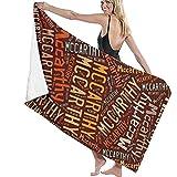 chillChur-DD Bath Towel Mccarthy-Asciugamano da bagno con cognome Americano,telo da bagno,Set di asciugamani per asciugamano da bagno Turco da spiaggia per l'uso domestico Nella SPA