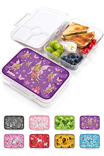 JARLSON® Brotdose für Kinder mit 4 Fächern - Lunchbox aus Tritan - Bento Box auslaufsicher – Jausenbox für Kindergarten und Schule - Mädchen und Jungen - 850ml (Fee)