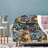 ZSDAFGHKKK Adults Fleece Blanket, Throw Blanket Monster Jam Warm Bed Blanket for Mens Womens Boys and Girls 40'X30'