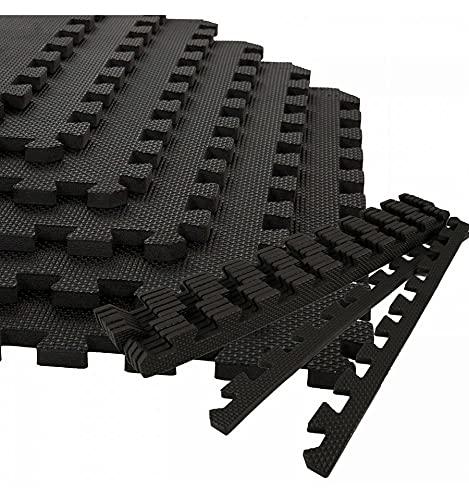 Esterilla Puzzle para Suelos de Gimnasio y Fitness | Pack 4 losas de 60x60x1cm, Set de Protección de Goma EspumaAlfombrilla Protectora + Bordes | Colchonetas para Máquinas de Deporte, (Negro)