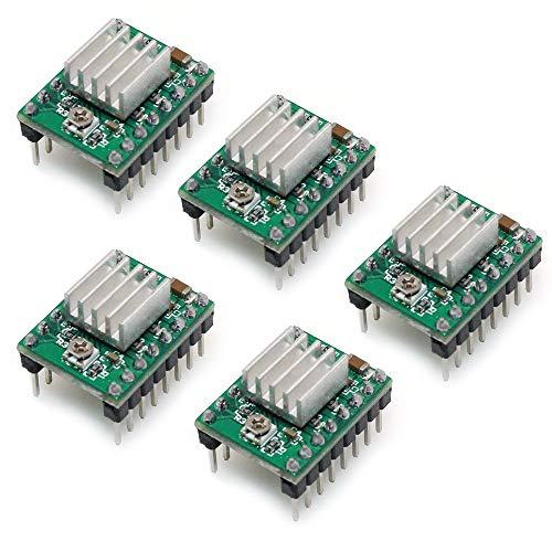 ARCELI A4988 kompatibles Stepper-StepStick-Motortauchermodul mit Kühlkörper für 3D-Drucker-Controller-Rampen 1,4 (Packung mit 5 Stück) - Grün