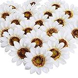XHXSTORE 24PCS Girasoles Artificiales de Seda 9CM Cabeza Girasol Artificial Blanco para Cuerpo DIY Tarjeta de álbum Recortes Decoración de Pared Centro de Mesa Pastel Boda