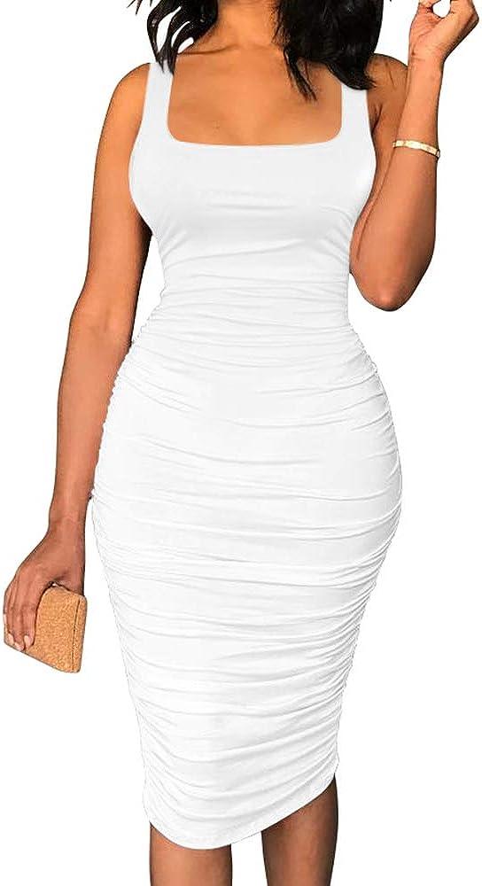 BEAGIMEG Women's Sexy Tank Top Bodycon Ruched Sleeveless Basic Midi Party Dress