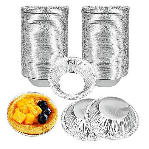 TANCUDER 250 Pièces Moule à Tarte Aluminium Jetable Moule à Tarte aux Oeufs Plat à Tarte en Papier d'Aluminium Mini Moule à Tartelette Anti-adhésif pour Pâtisserie Cupcakes Puddings Gelée Gâteaux