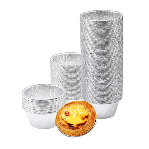 FiveEyes Baking Cups, Aluminum Foil Ramekins 150Pcs Disposable 4oz Cupcake Liners Muffin Liners Silver Baking Cups for Cupcake, Egg Tart, Creme Brulee, Souffle, Pudding and More