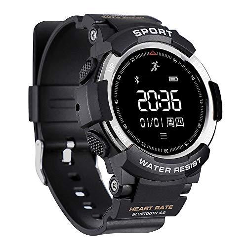 Ong Reloj Inteligente Deportivo con Pulsera, Compatible con detección de frecuencia cardíaca, Reloj Inteligente Deportivo, Resistente al Agua para el Sistema iOS, Sistema Android(Silver)