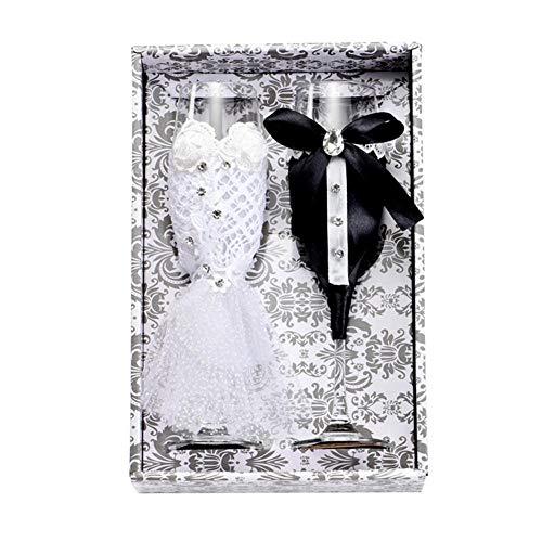 NO BAND Hochzeit Wein Champagner Gläser Tasse Set Braut und Bräutigam Schwarz Weiß Kleid Dekorative Tassen