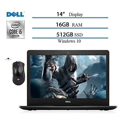 Dell Inspiron 14 inch Laptop 2020, Intel Core i5-1035G4 (Beat i7-7500) 10 Geneartion, 16GB RAM, 512GB SSD, HDMI, WiFi, Intel UHD Graphics, Win10 W/ Ghost Manta Gaming Mouse