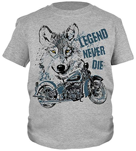 Wolf Motorrad Motiv Kindershirt - Kinder T-Shirt Biker : Legend Never Die - Kinder Motorrad Sprüche Shirt Wolfkopf Gr: L