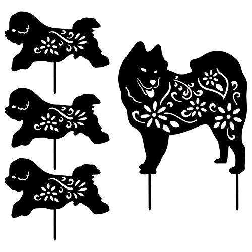 YEAHOME Metal Dog Garden Stakes- Garden Decor for Outside Silhouette Stake Garden Art, Set of 4, Decorative Garden Stakes Yard Decorations Outdoors, Gifts for Dog Lovers