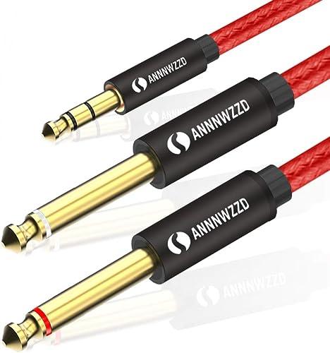 LinkinPerk 3m Câble Audio Jack 3.5mm vers Double 6.35mm, 2 x 6.35 Mâle vers 3.5 Mâle Mono Câble Y Splitter Pour Télép...