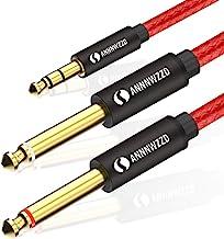 LinkinPerk 2m Cable audio 3.5mm a doble 6.35 mm Mono Audio Jack,3.5 estéreo a 2 conectores 6.35 para teléfonos inteligentes, Dispositivos de Cine en casa, amplificadores,guitarra