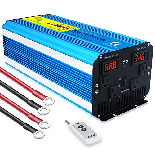 Cantonape Pure Sine Wave Inverter 4000W Power Inverter 12V to 110V DC to AC with LED Display Remote Controller for Truck RV Home Solar System