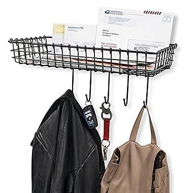 WALL35 Entryway Organizer – Farmhouse Rustic Decor – Wall Mounted Coat Rack - Metal Wire Basket with Key Hooks Black