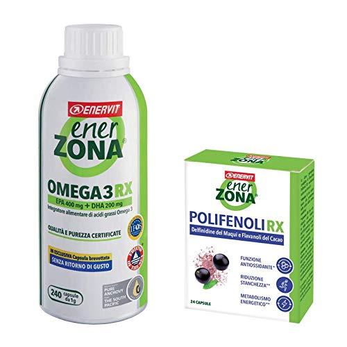 enervit - EnerZona Omega 3 RX 240 Cápsulas de 1 g + Polifenoli RX 24 Cápsulas