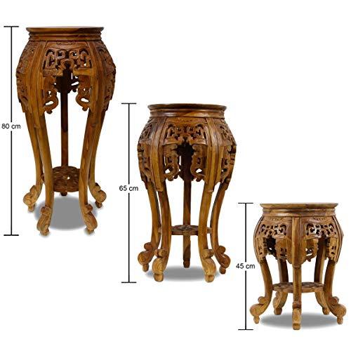 Oriental Galerie Beistelltisch Nachttisch Rundhocker Blumenhocker Teak Holz Hocker Barock Massiv,...