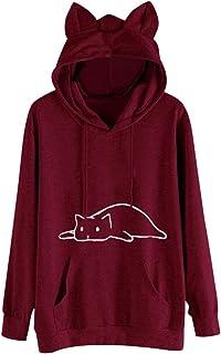 Women Cat Printed Hoodies Sweatshirt ❀ Ladies Solid Long Sleeve Tee Shirt Blouse Tunic Tops Cute Ear Cap Sport Coat