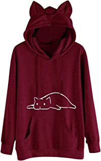 KLFGJ Autumn Hoodie Streetwear Women Hoodie Long Sleeve Blouse Winter Top Cat Print Leisure Sports Pullover