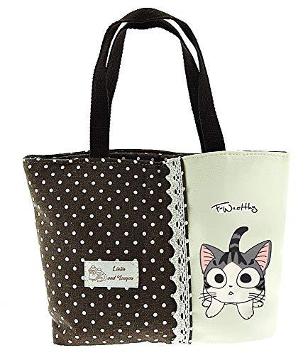 Lovelegis Bolso de mujer - tela - cierre de cremallera - lunares - gato - gatito - niña - niña - vintage - retro - idea de regalo original - color marrón